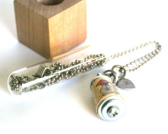 Goldfish Riding Bicycle Necklace - Recycled Cork Jewelry, Test Tube Necklace, Whimsical Jewelry, Inspiration Gift, Custom Charm, Uncorked
