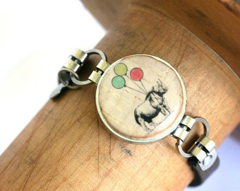 Rhino Jewelry - Rhino Bracelet, Wine Cork Bracelet. Leather Bracelet, Quirky Birthday Gift, Recycled, Any Size, Custom, Balloons - Uncorked