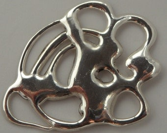 Free Form Organic Sterling Silver Pendant - One of a kind