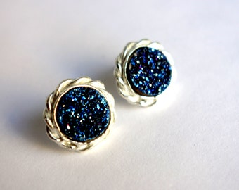 Drusy Deluxe: Braided Blue Drusy Studs