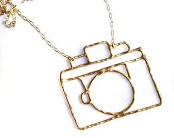 Brass Camera Necklace