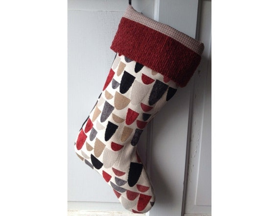 Handmade Large Christmas Stocking - Falling Arches - Heirloom Holiday Decor for Men Ready to Ship