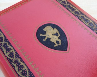 Vintage Red Telephone Book Memo Pad Daily Weekly Phone Index with Lion Rampant French Herald Coat of Arms Heraldry