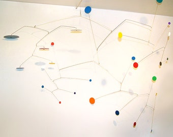Large Art Mobile Modern Hanging Calder Styled Abstract Art Constellations Colorful Circles Home Decor