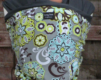 Baby Sling-ORGANIC COTTON Baby Wrap Sling Carrier-Floral on Gray-One Size Fits All-Newborn to Toddler-DvD Included