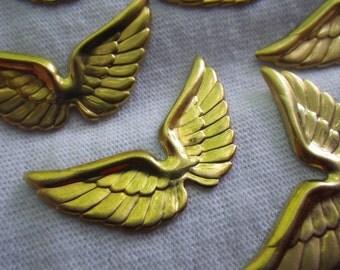 Brass Wing Charms 30x17mm 6 Pcs