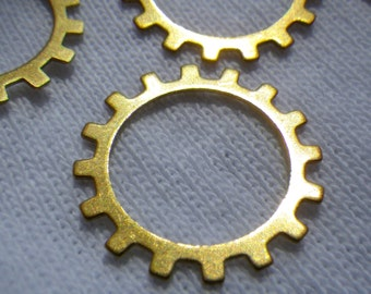 Big Sprockets Open Gear or Cog Charms Brass Stamp Blanks 20mm 6 Pcs
