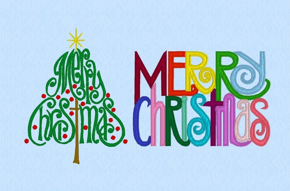 Merry Christmas Tree and Words machine embroidery design set
