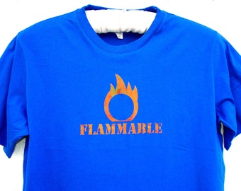 FLAMMABLE Flame Safety Third tshirt - FITTED Mens fire tshirt safety 3rd shirt Burning Man handmade screenprint Blue & Orange