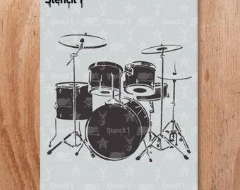 Drum Set Stencil- Reusable Craft & DIY Stencils- S1_01_17 -8.5x11- By Stencil1