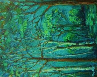 Original Impressionist Landscape Painting- 11x14 Canvas Wall Art- Sunlit Woodland Path