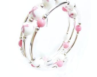 Breast cancer awareness bracelet, Memory Wire Silver Bracelet, Handmade Jewelry
