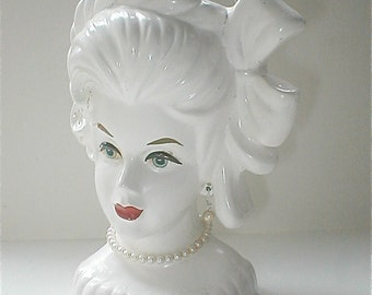 Lady Head Vase Vintage 50s All White Dame  Pearl Earrings 7 inches tall Vanity Kitschy Decor Japan Blanc de Chine Pearl Necklace