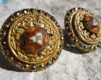 1940s Gold-plated Cloisonne Earrings