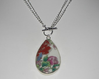 Flower Bouquets - Adjustable necklace made from eco friendly upcycled Chinese pottery