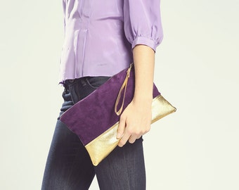 Purple Suede Clutch. Holiday Clutch Bag. New Years Eve.  New Years Eve. Gold Leather Clutch. Metallic Clutch.