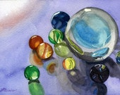 Colorful Marbles still life reflections original 5 x 7 Watercolor  framed