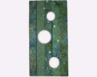 Small Abstract Art Quilt, Fabric Wall Hanging, Fiber Art, Green and Blue with Bubbles