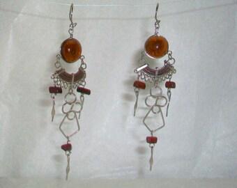 Brown Chandelier Glass Cabochon Earrings