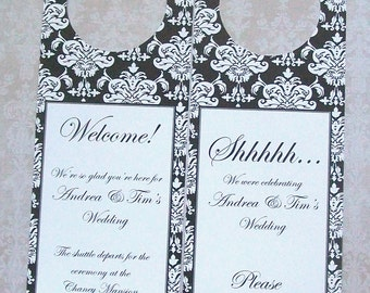 Hotel Door Hangers - DAMASK - Double Sided for Out of Town Wedding Guests - Do Not Disturb