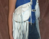 """Artisan Made White Leather Holster Purse Fringed Hobo Bag Vintage Style Custom Retro Hippie """"CHELSEA'S BAGS"""" Handmade by Debbie Leather"""