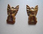 Vintage Oxidized Brass Gargoyle Charm Findings