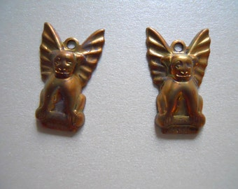 Vintage Oxidized Brass Gargoyle Charm Findings