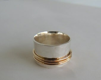 Golden sterling Spinner Ring- Fiddle Ring - Gold and Silver Wide Band Ring  SR116