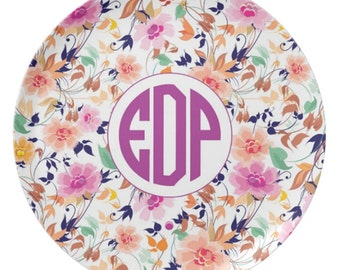 Personalized 10 Inch Melamine Floral Monogram Plate
