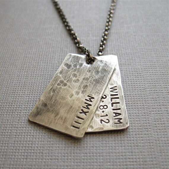 mens personalized double dog tag necklace mens by. Black Bedroom Furniture Sets. Home Design Ideas