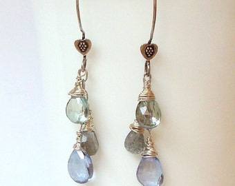 green and blue mystic quartz, labradorite and sterling silver dangle earrings