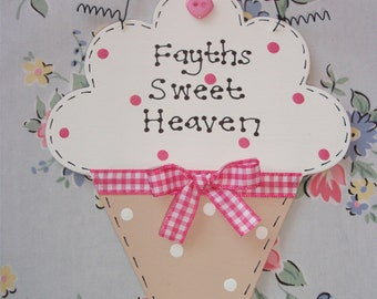 Personalised Cute ICE CREAM Shaped Sign ~ For Any Occasion ~ Kitchen, Bedroom, Business, Shop, Birthday