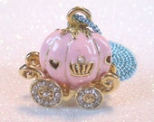 Cinderellas Royal Coach 3D rhinestone embedded pink and gold pumpkin carriage charm necklace