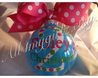 Personalized Baby's 1st Christmas Ornament Custom Date on back Bow Ribbon Glass Glittered baby shower