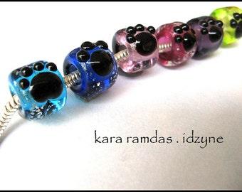 Pet Memorial Bead Paw Print  Bead Big Hole Bead BHB Handmade Bead SRA - fits most European Bracelets