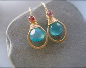 SALE - Chalcedony Earrings, Briolette Classic Earrings, blue earrings, Gold Framed Earrings