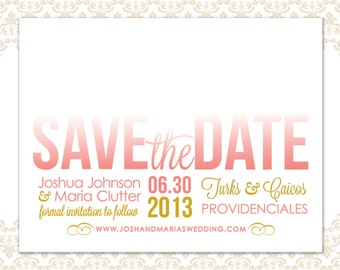 Wedding Save the Date Coral and Gold