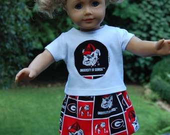 Dollar Shipping/ Doll clothes /  18 inch doll clothes - Cute Go Georgia Bulldogs Skirt outfit