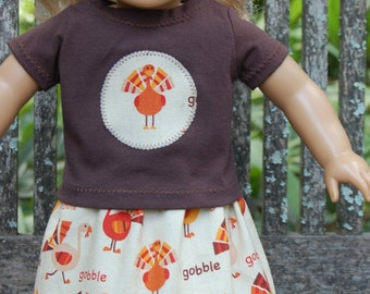 Doll clothes /  18 inch doll clothes - Cute Thanksgiving Turkey Skirt outfit