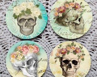 Dia de los Muertos -- Day of the Dead Floral Skulls Mousepad Coaster Set