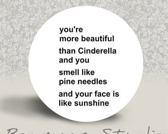 You're more Beautiful than Cinderella and You Smell like Pine Needles and your Face is like Sunshine - PINBACK or MAGNET - 1.25 inch round