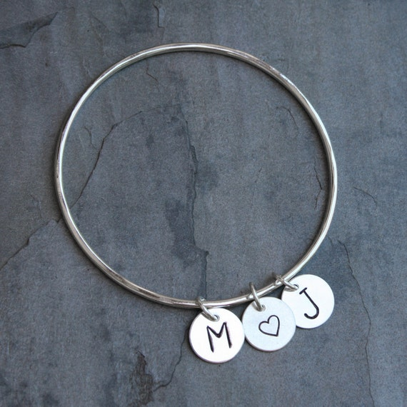 Custom Love Letter Charm Bangle, Sterling Silver, Personalized Charm Bracelet, 2 Initials and Heart, Stacking Bracelet, Valentines Day