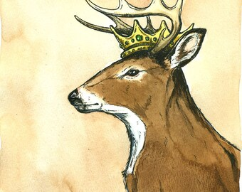 White Tail Deer King (an original hand painted king)
