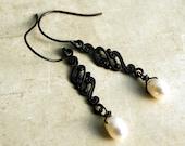 Pearl Drop Earrings, Freshwater White Pearls, Weddings, Antique Patina Brass, Black Dark Brass, Dangle Earrings, Pearl Dangle Earrings