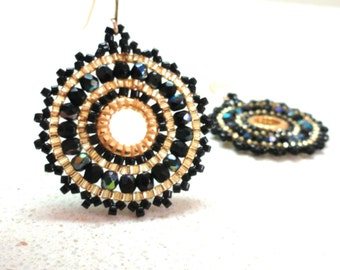 Jewelry mandala circle Earrings Handmade beadwork Gold Black by Artefyk tagt team