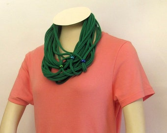 Repurposed/Recycled  Green Unisex Beaded T-Shirt Infinity Scarf/Necklace Handmade by FashionGreenTBags