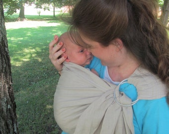 Ring Sling Baby Carrier Pure Linen, baby sling, - Biscotti or Black- CUSTOM straight matching stitch or contrast decorative - DVD included