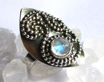 Rainbow Moonstone Ring, Exotic OOAK Ring, Sterling Silver Paisley Ring, Size 9.5, 10 Statement Ring, One of A Kind Ring, Moonstone Jewelry