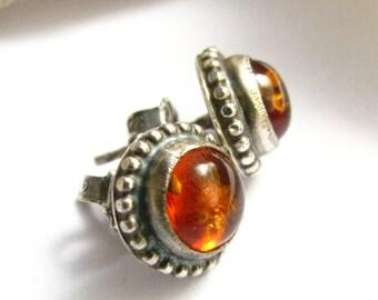 Amber Earrings, Gemstone Earrings, Post Earrings, Metalsmith Jewelry, Stud Earrings, Silver And Amber Jewelry, Sterling Silver Earrings