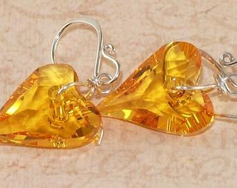 Heart Earrings, Swarovski, Crystal, Yellow, Canary, Sunflower, Sterling Silver, Handformed Jewelry, DDurda